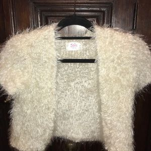 Girls Iridescent sparkle cream faux mohair shrug